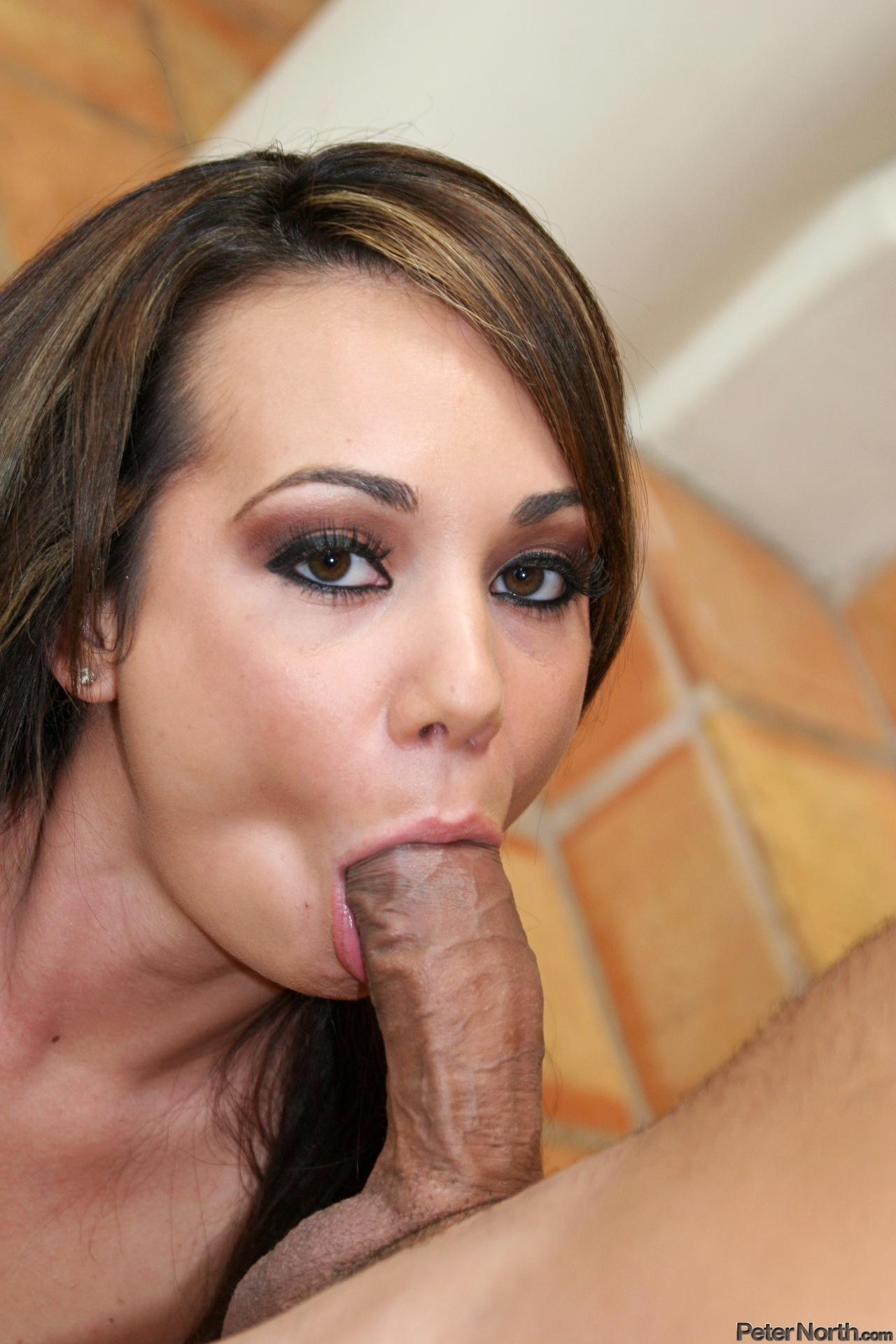 Lustful whore doing a dutifully throating job