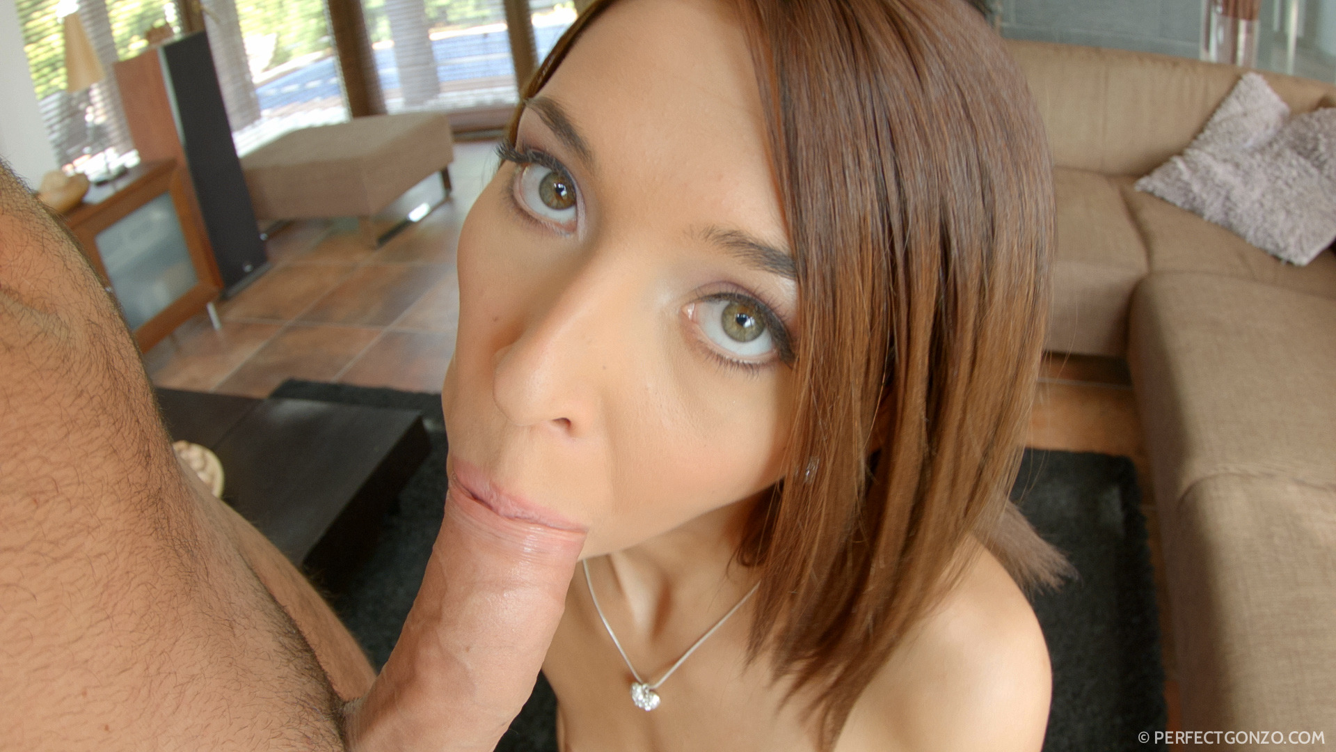 Comely belle with spellful throat slurpy job