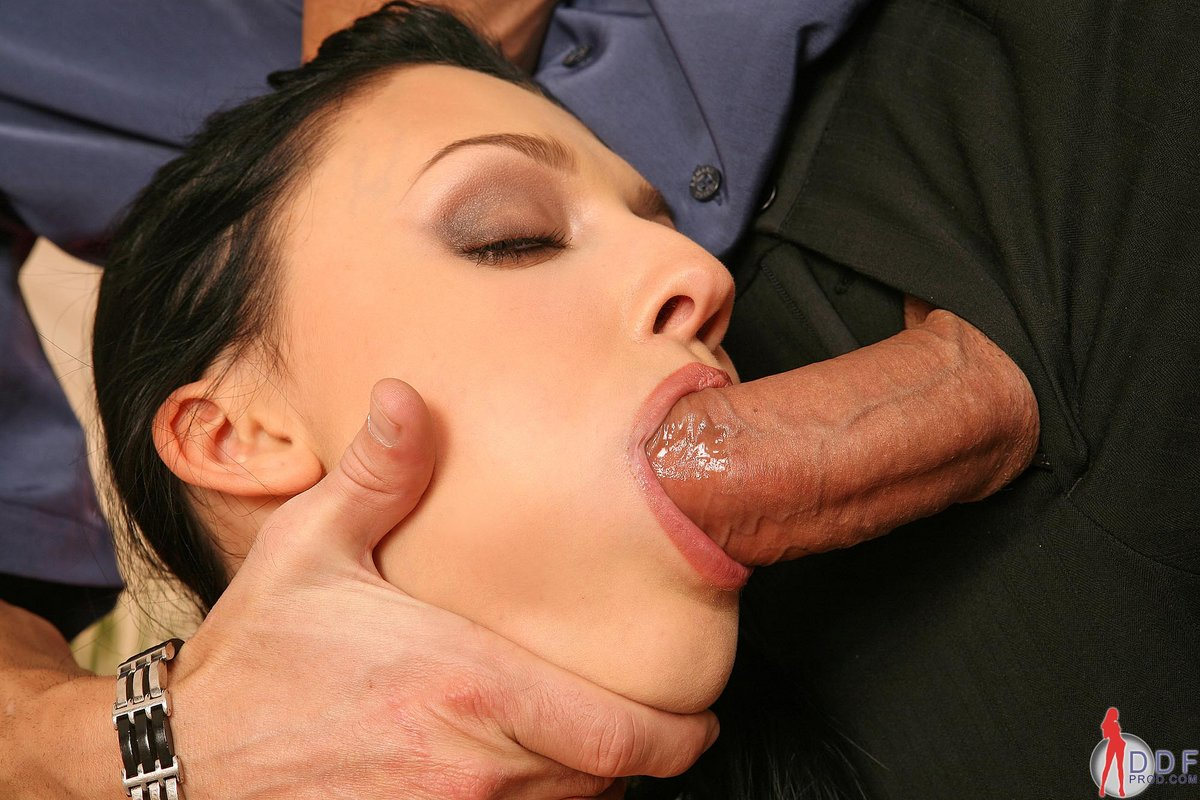 Cute harlot shows greedy throat pounding