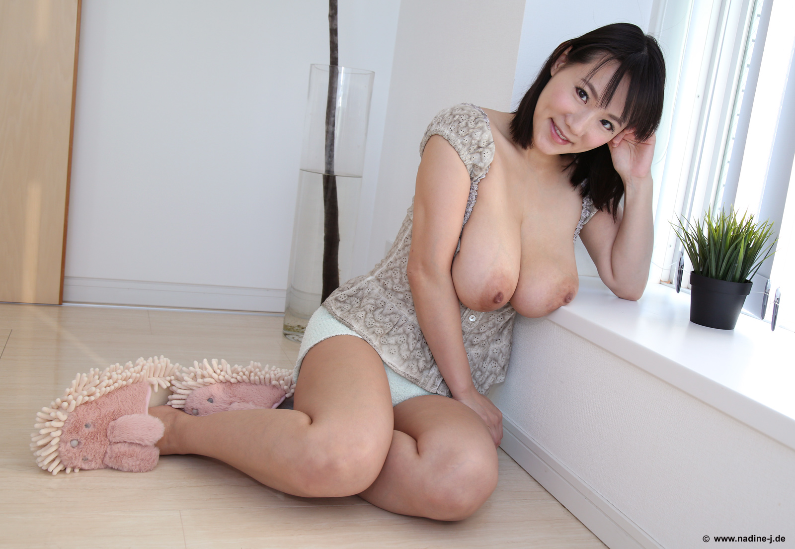 Sweet cutie with glorious flesh presents cuddly melons