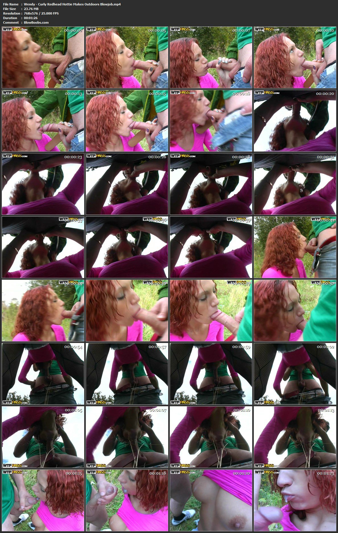 Wendy - Curly Redhead Hottie Gives Blowjob Outdoor